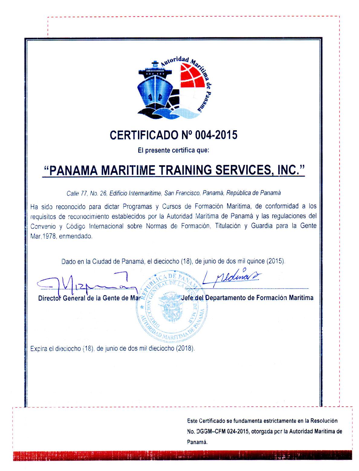 Panama maritime training services authentication certificate authorization certificate pmts 2016 1betcityfo Choice Image
